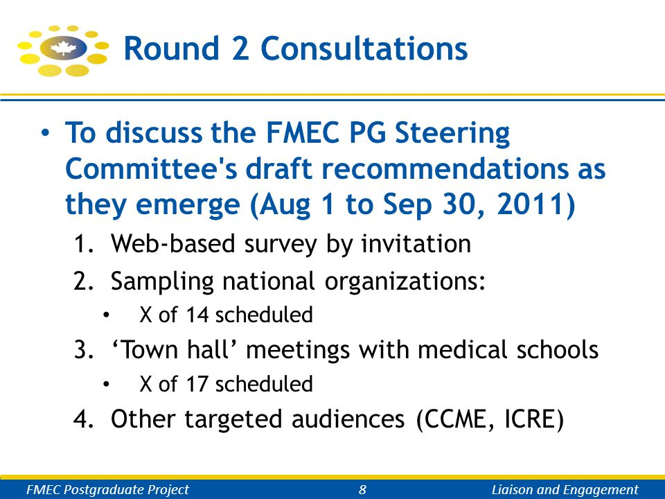 Round 2 Consultations To discuss the FMEC PG Steering Committee s draft recommendations as they emerge (Aug 1 to Sep 30, 2011) 1.Web-based survey by invitation 2.Sampling national organizations: X of 14 scheduled 3.'Town hall' meetings with medical schools X of 17 scheduled 4.Other targeted audiences (CCME, ICRE) FMEC Postgraduate Project8Liaison and Engagement