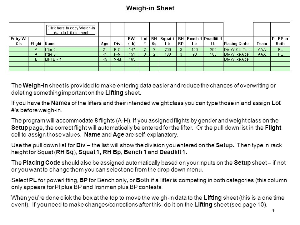 4 Weigh-in Sheet The Weigh-in sheet is provided to make entering data easier and reduce the chances of overwriting or deleting something important on the Lifting sheet.