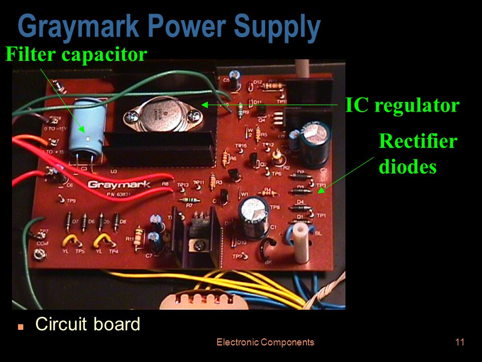 Electronic Components11 Graymark Power Supply n Circuit board Rectifier diodes IC regulator Filter capacitor