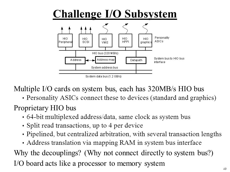 49 Challenge I/O Subsystem Multiple I/O cards on system bus, each has 320MB/s HIO bus Personality ASICs connect these to devices (standard and graphics) Proprietary HIO bus 64-bit multiplexed address/data, same clock as system bus Split read transactions, up to 4 per device Pipelined, but centralized arbitration, with several transaction lengths Address translation via mapping RAM in system bus interface Why the decouplings.