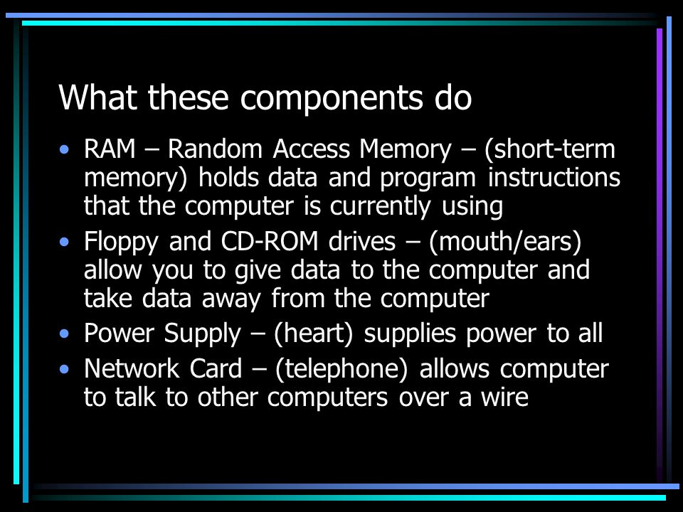 What these components do RAM – Random Access Memory – (short-term memory) holds data and program instructions that the computer is currently using Floppy and CD-ROM drives – (mouth/ears) allow you to give data to the computer and take data away from the computer Power Supply – (heart) supplies power to all Network Card – (telephone) allows computer to talk to other computers over a wire