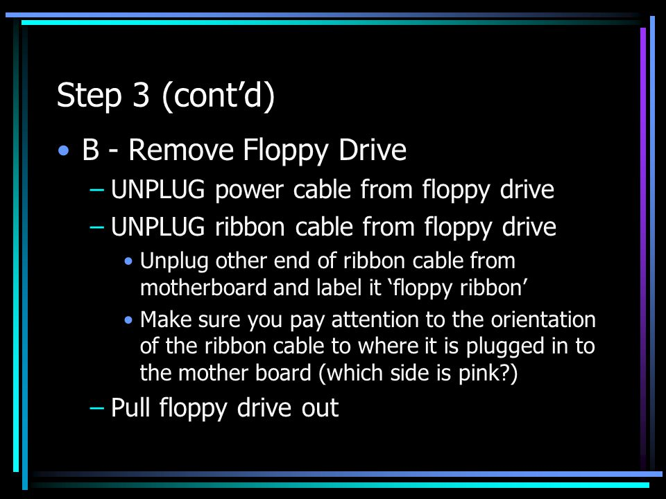 Step 3 (cont'd) B - Remove Floppy Drive –UNPLUG power cable from floppy drive –UNPLUG ribbon cable from floppy drive Unplug other end of ribbon cable