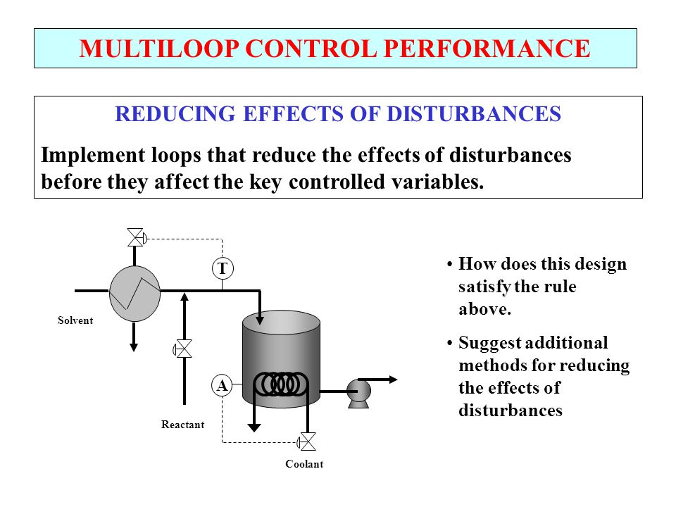 MULTILOOP CONTROL PERFORMANCE REDUCING EFFECTS OF DISTURBANCES Implement loops that reduce the effects of disturbances before they affect the key cont