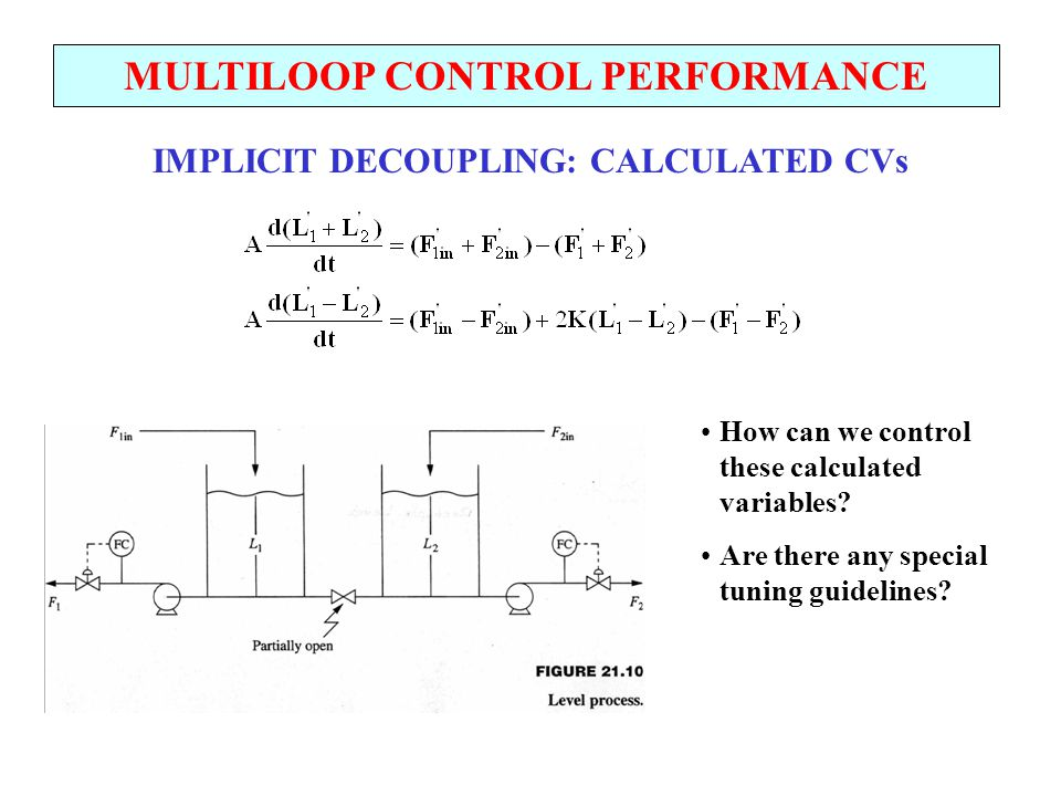 MULTILOOP CONTROL PERFORMANCE IMPLICIT DECOUPLING: CALCULATED CVs How can we control these calculated variables? Are there any special tuning guidelin
