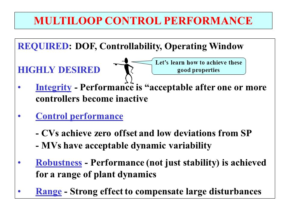 "REQUIRED: DOF, Controllability, Operating Window HIGHLY DESIRED Integrity - Performance is ""acceptable after one or more controllers become inactive C"