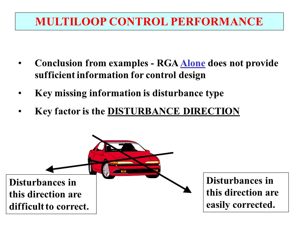 MULTILOOP CONTROL PERFORMANCE Short-cut Measure of Multiloop Control Performance We want to predict the performance using limited information and calculations We would like to have the following features - Dimensionless - Based on process characteristics - Related to the disturbances type Let's recall if the RGA had these features