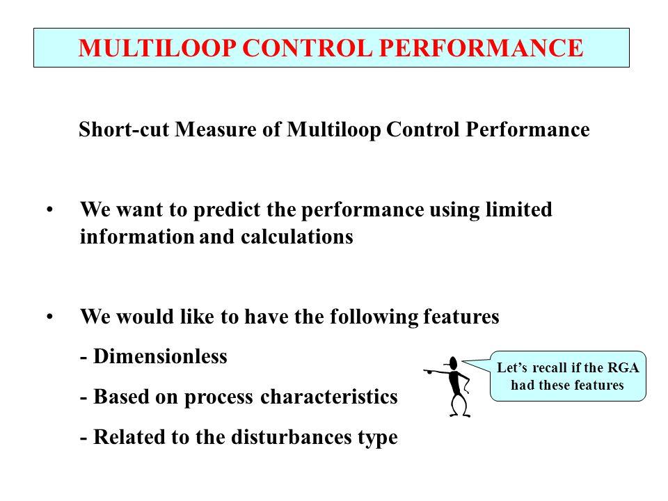 MULTILOOP CONTROL PERFORMANCE Single-loop performance (dead times, large disturbances, etc.