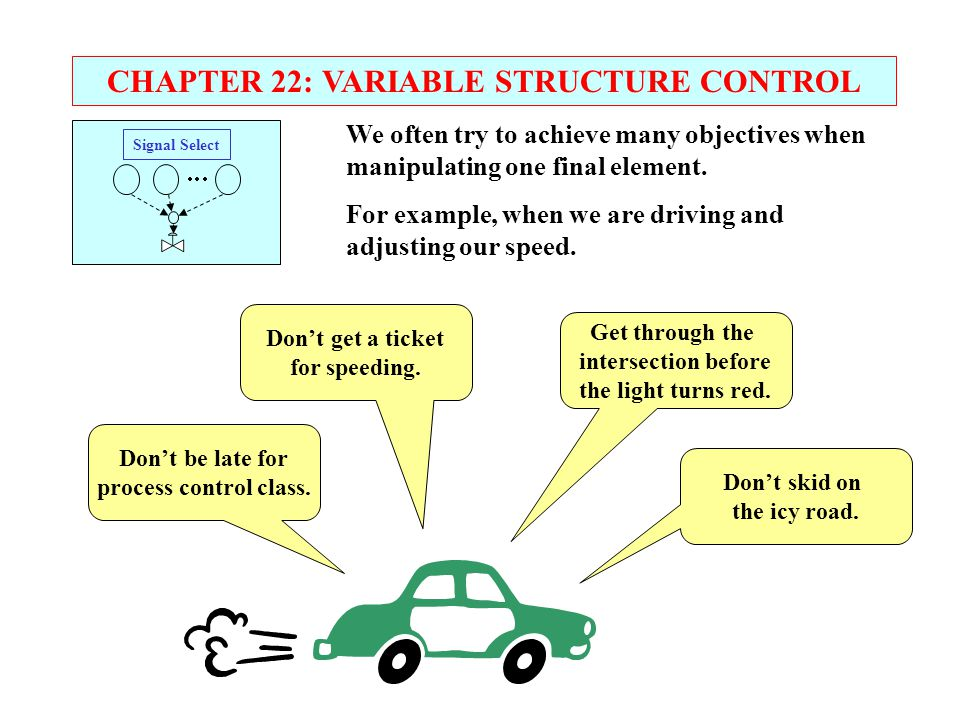CHAPTER 22: VARIABLE STRUCTURE CONTROL Signal Select      We often try to achieve many objectives when manipulating one final element. For examp