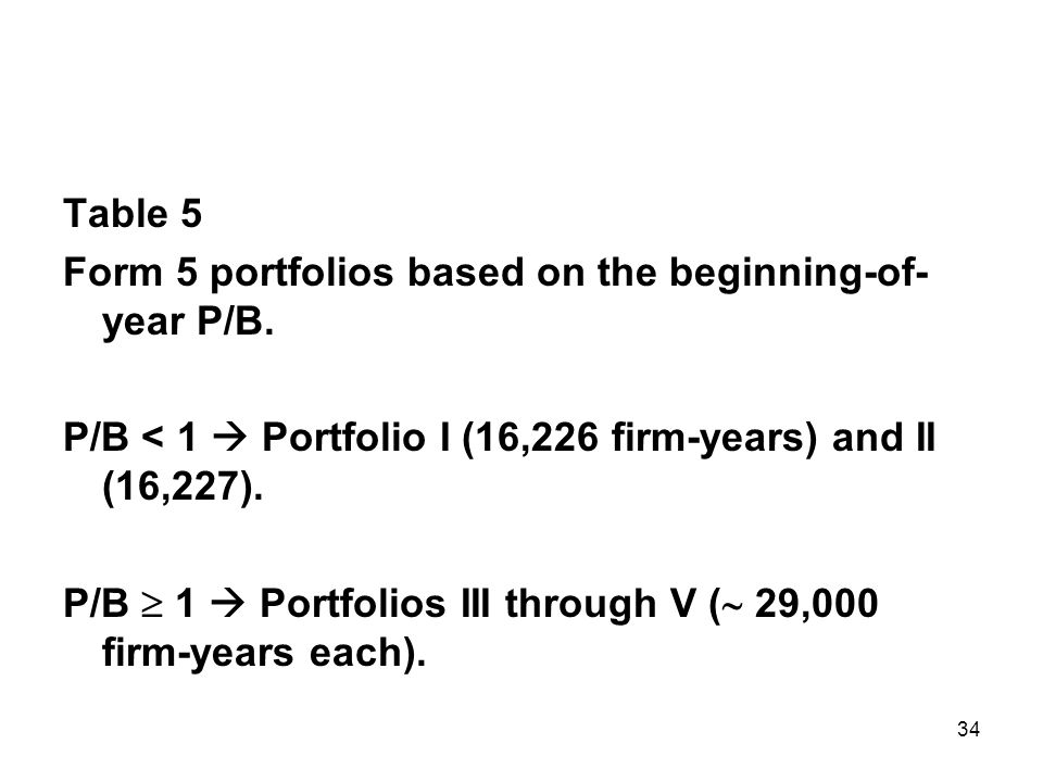 34 Table 5 Form 5 portfolios based on the beginning-of- year P/B.