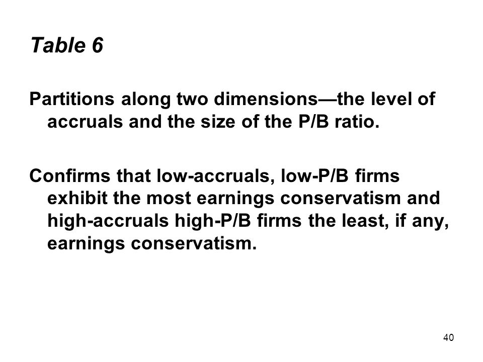 40 Table 6 Partitions along two dimensions—the level of accruals and the size of the P/B ratio.