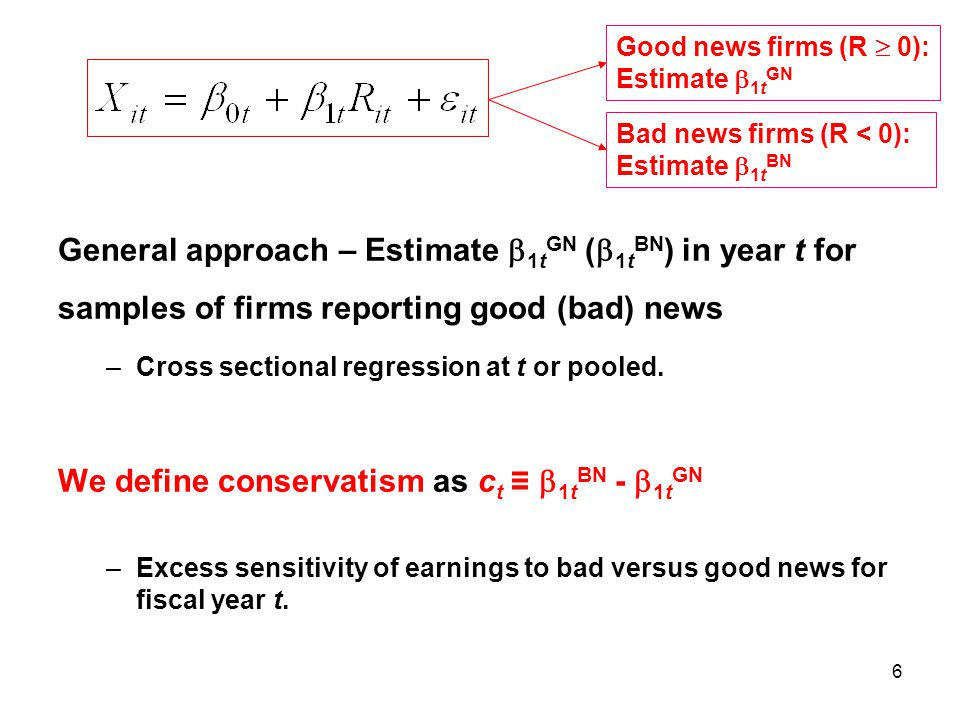 6 General approach – Estimate  1t GN (  1t BN ) in year t for samples of firms reporting good (bad) news –Cross sectional regression at t or pooled.
