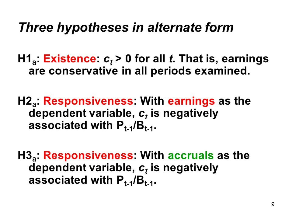 9 Three hypotheses in alternate form H1 a : Existence: c t > 0 for all t.