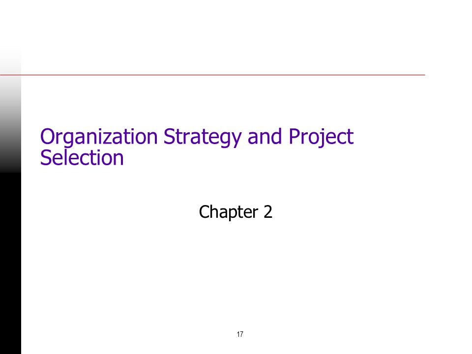 17 Organization Strategy and Project Selection Chapter 2