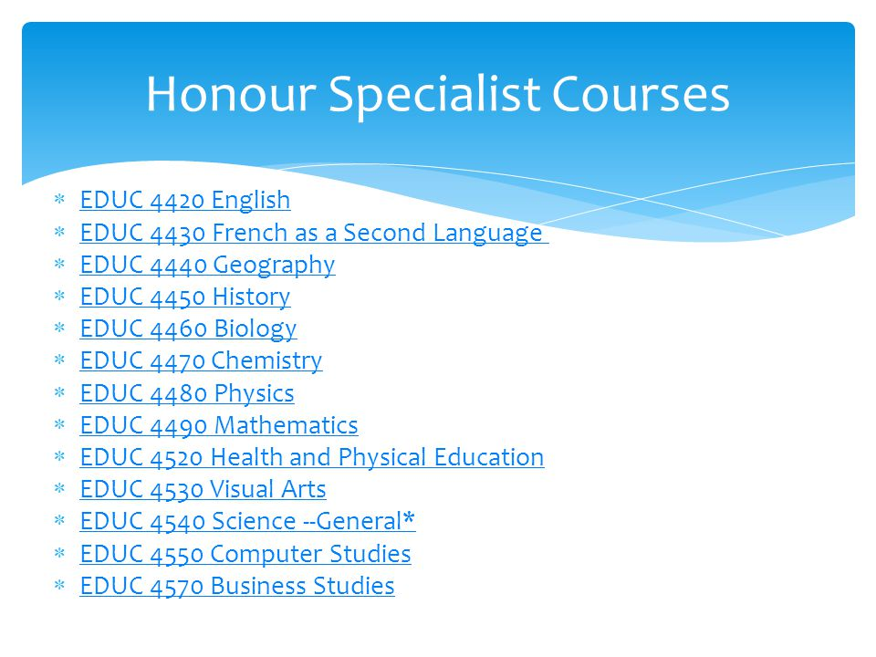  EDUC 4420 English EDUC 4420 English  EDUC 4430 French as a Second Language EDUC 4430 French as a Second Language  EDUC 4440 Geography EDUC 4440 Ge