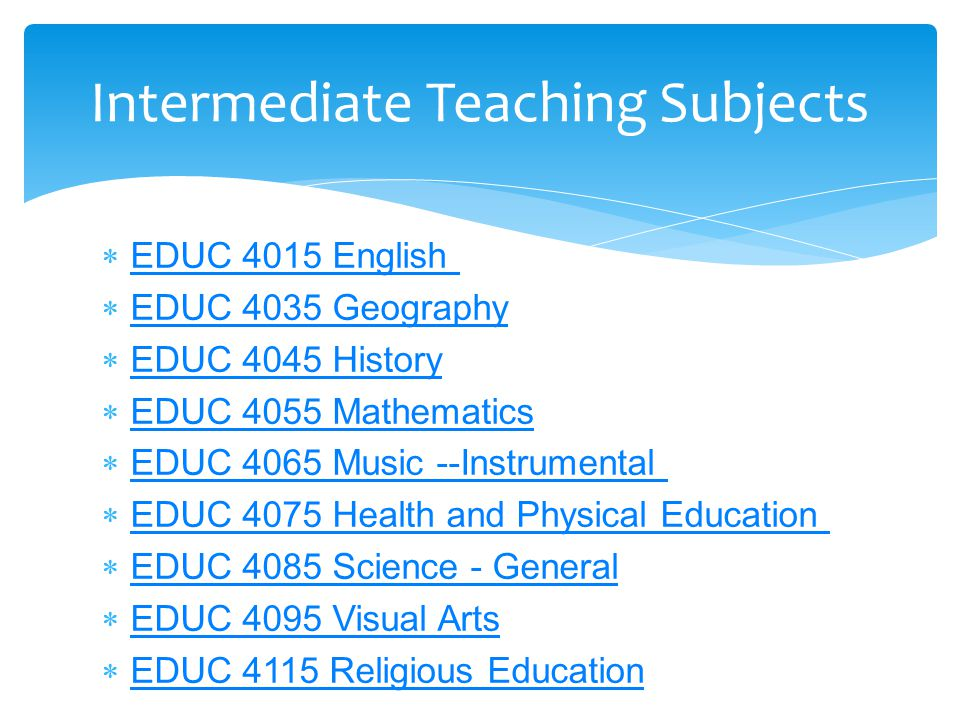  EDUC 4015 English EDUC 4015 English  EDUC 4035 Geography EDUC 4035 Geography  EDUC 4045 History EDUC 4045 History  EDUC 4055 Mathematics EDUC 405