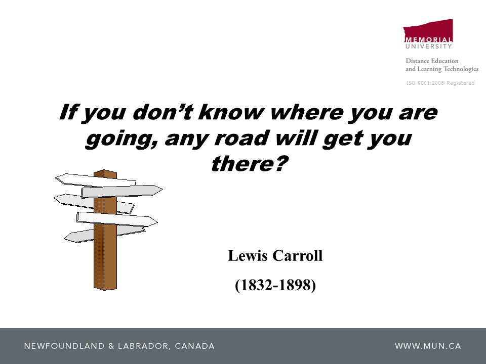 ISO 9001:2008 Registered If you don't know where you are going, any road will get you there? Lewis Carroll (1832-1898)