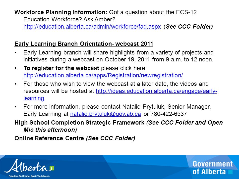 Workforce Planning Information: Got a question about the ECS-12 Education Workforce.