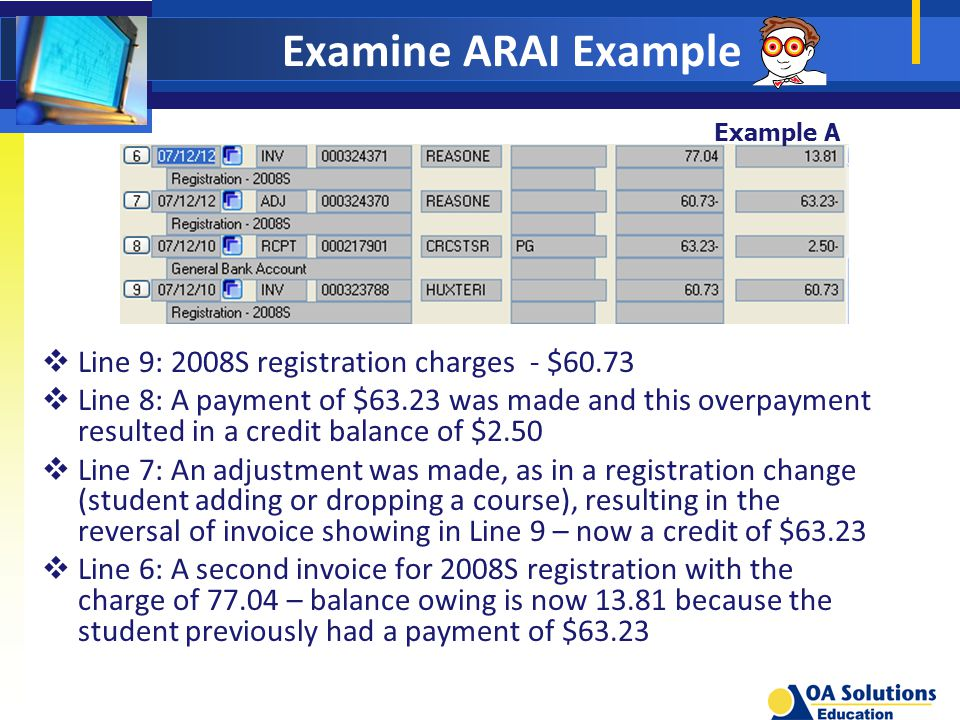 Examine ARAI Example Example A  Line 9: 2008S registration charges - $60.73  Line 8: A payment of $63.23 was made and this overpayment resulted in a credit balance of $2.50  Line 7: An adjustment was made, as in a registration change (student adding or dropping a course), resulting in the reversal of invoice showing in Line 9 – now a credit of $63.23  Line 6: A second invoice for 2008S registration with the charge of – balance owing is now because the student previously had a payment of $63.23