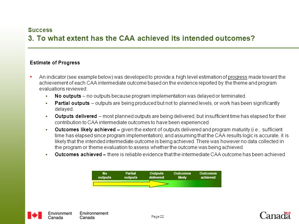 Page 22 Success 3. To what extent has the CAA achieved its intended outcomes? Estimate of Progress An indicator (see example below) was developed to p