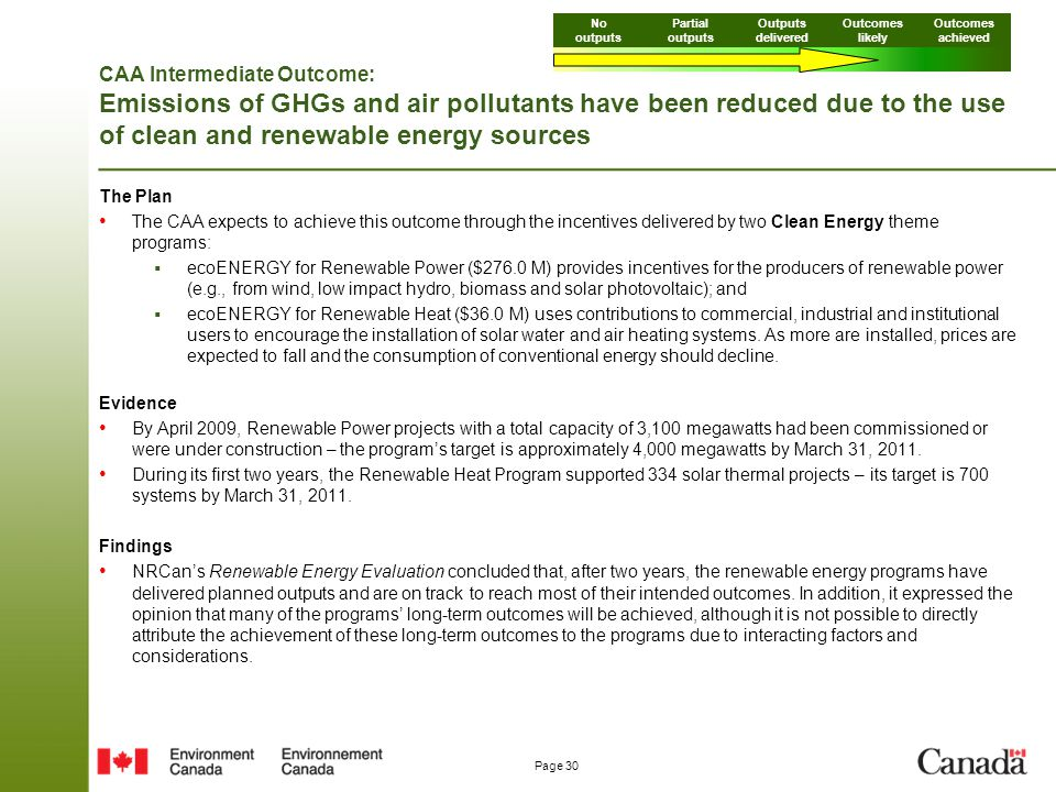 Page 30 CAA Intermediate Outcome: Emissions of GHGs and air pollutants have been reduced due to the use of clean and renewable energy sources The Plan