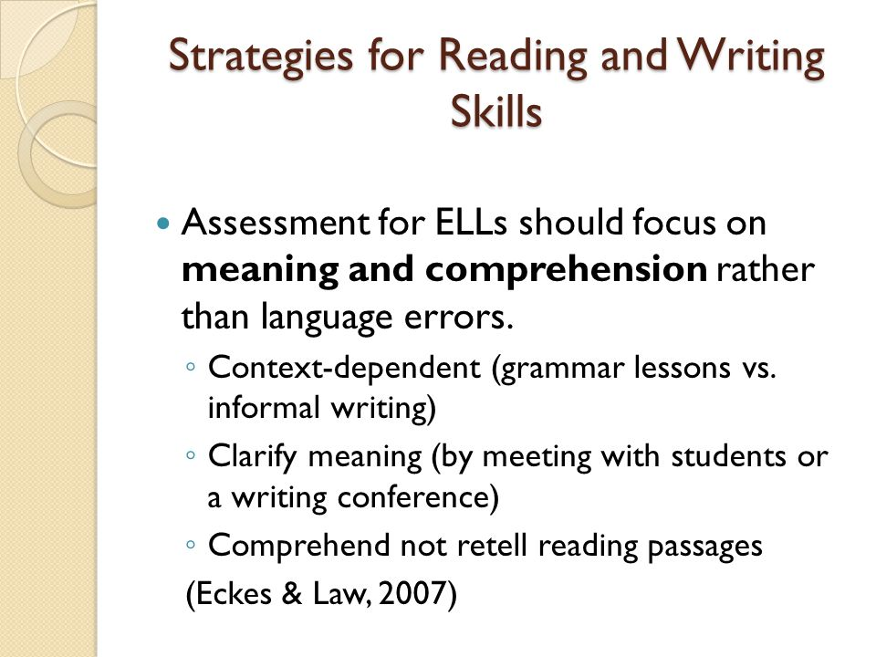 Strategies for Reading and Writing Skills Use a variety of assessment methods in different contexts and provide students with constructive feedback.