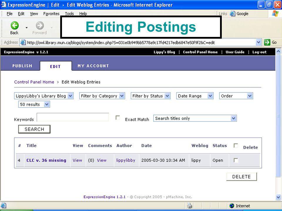 Editing Postings