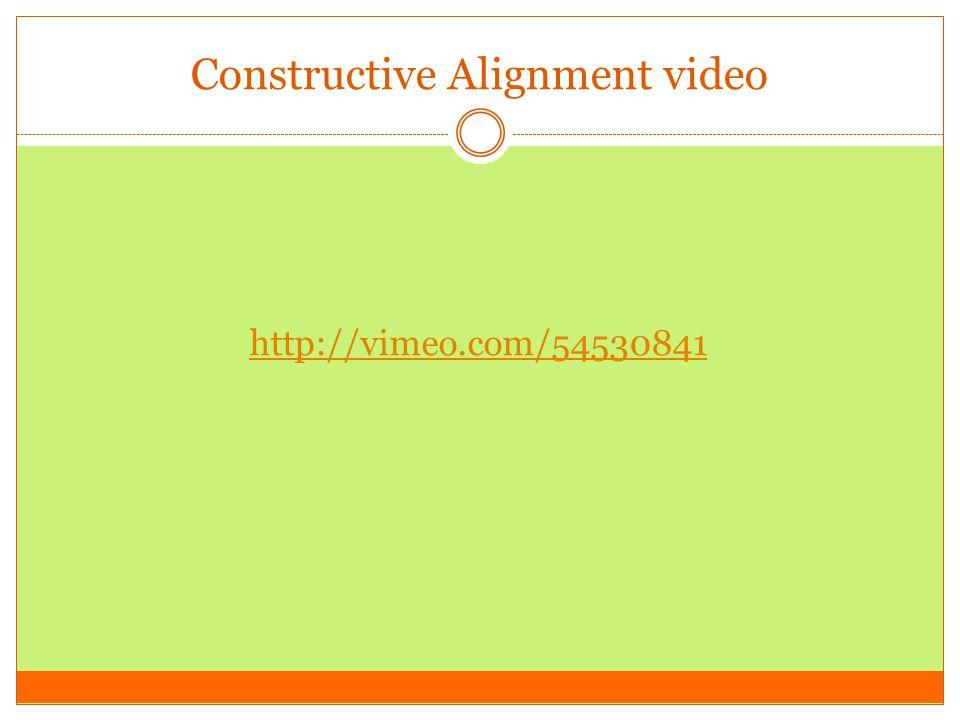 Constructive Alignment video http://vimeo.com/54530841