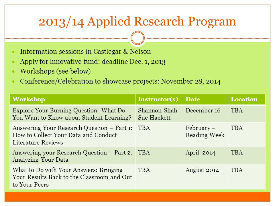 2013/14 Applied Research Program Information sessions in Castlegar & Nelson Apply for innovative fund: deadline Dec.
