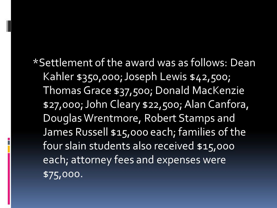 *Settlement of the award was as follows: Dean Kahler $350,000; Joseph Lewis $42,500; Thomas Grace $37,500; Donald MacKenzie $27,000; John Cleary $22,500; Alan Canfora, Douglas Wrentmore, Robert Stamps and James Russell $15,000 each; families of the four slain students also received $15,000 each; attorney fees and expenses were $75,000.
