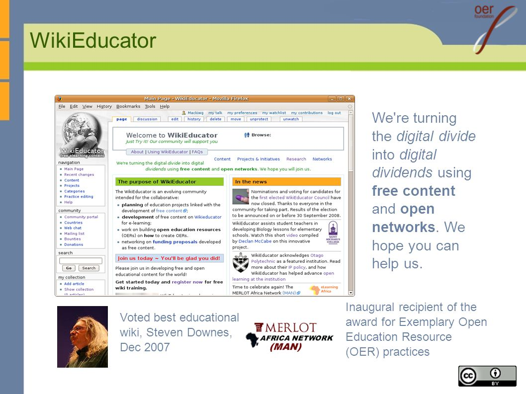WikiEducator We re turning the digital divide into digital dividends using free content and open networks.
