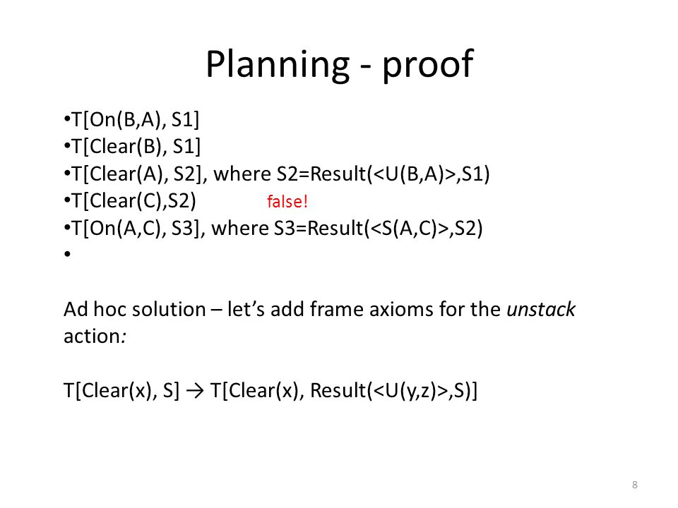 Planning - proof T[On(B,A), S1] T[Clear(B), S1] T[Clear(A), S2], where S2=Result(,S1) T[Clear(C),S2) T[On(A,C), S3], where S3=Result(,S2) Ad hoc solution – let's add frame axioms for the unstack action: T[Clear(x), S] → T[Clear(x), Result(,S)] false.