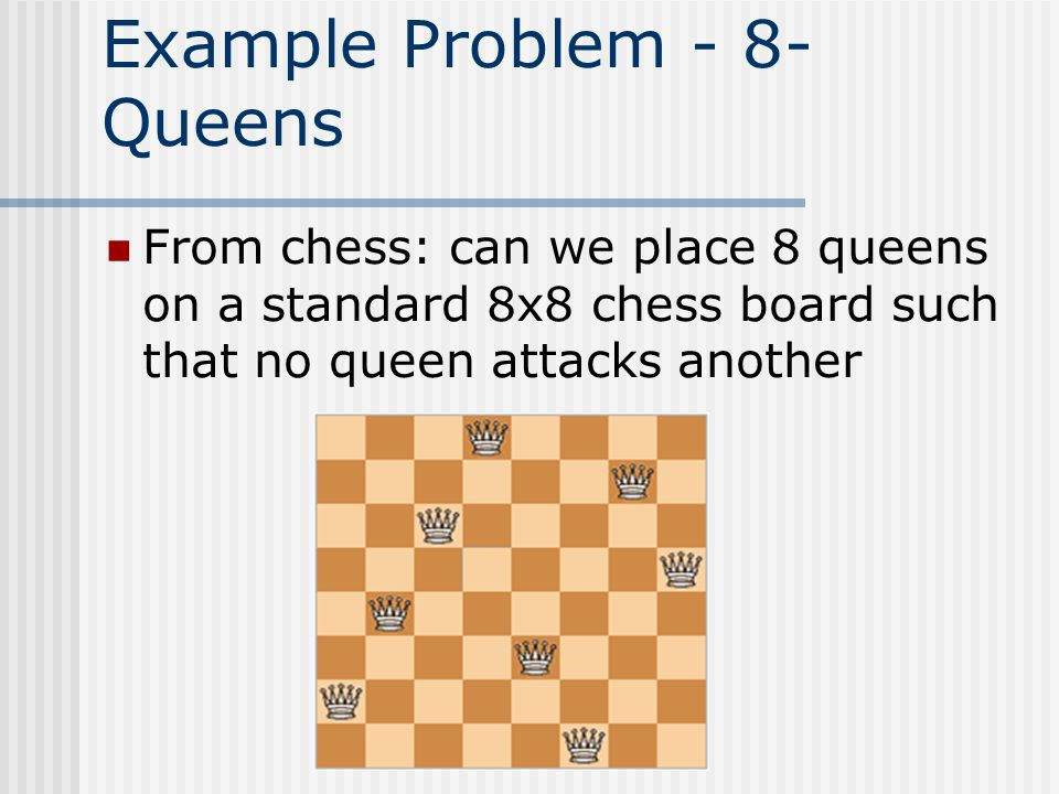 Example Problem - 8- Queens From chess: can we place 8 queens on a standard 8x8 chess board such that no queen attacks another