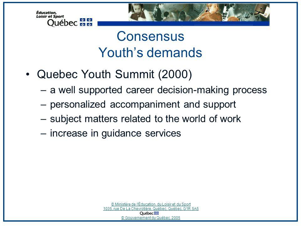 © Ministère de l'Éducation, du Loisir et du Sport 1035, rue De La Chevrotière, Québec, Québec, G1R 5A5 © Gouvernement du Québec, 2005 Consensus Youth'