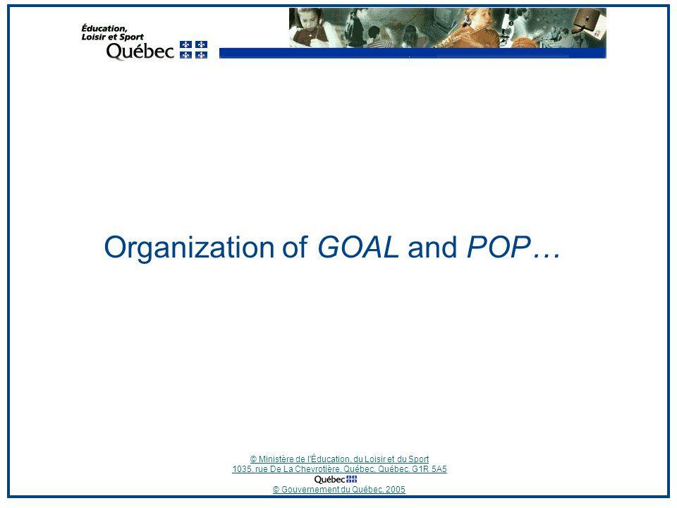 © Ministère de l Éducation, du Loisir et du Sport 1035, rue De La Chevrotière, Québec, Québec, G1R 5A5 © Gouvernement du Québec, 2005 Organization of GOAL and POP…