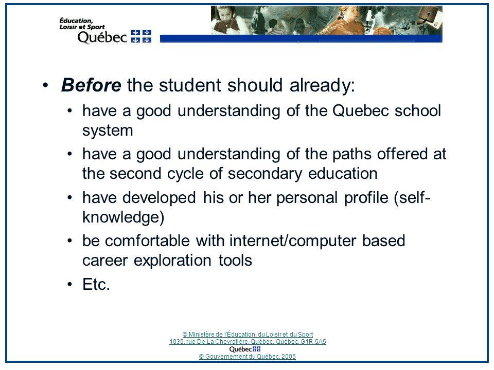 © Ministère de l'Éducation, du Loisir et du Sport 1035, rue De La Chevrotière, Québec, Québec, G1R 5A5 © Gouvernement du Québec, 2005 Before the stude