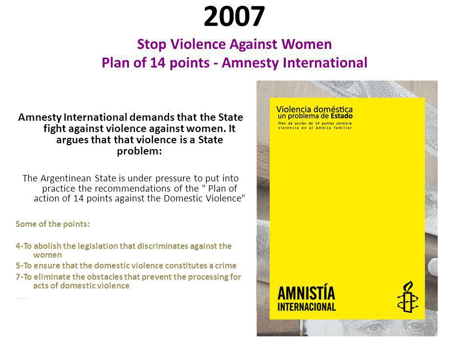 2008 Stop Violence Against Women Plan of 14 points - Amnesty International Abril 24, 2008.