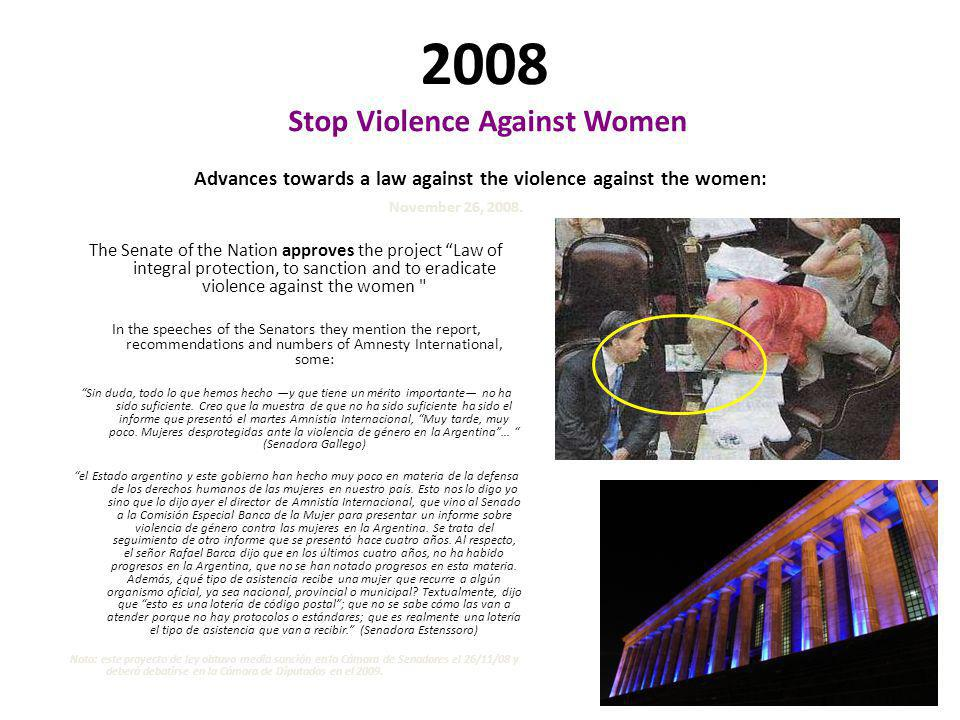 2007 Stop Violence Against Women Plan of 14 points - Amnesty International Amnesty International demands to the State that it implements a Statistical National System and effective public policies 13.