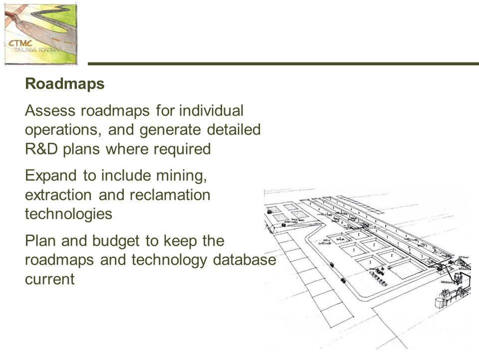 Roadmaps Assess roadmaps for individual operations, and generate detailed R&D plans where required Expand to include mining, extraction and reclamation technologies Plan and budget to keep the roadmaps and technology database current