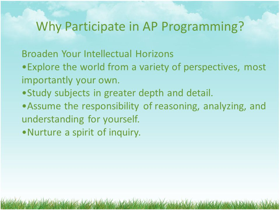 Why Participate in AP Programming.