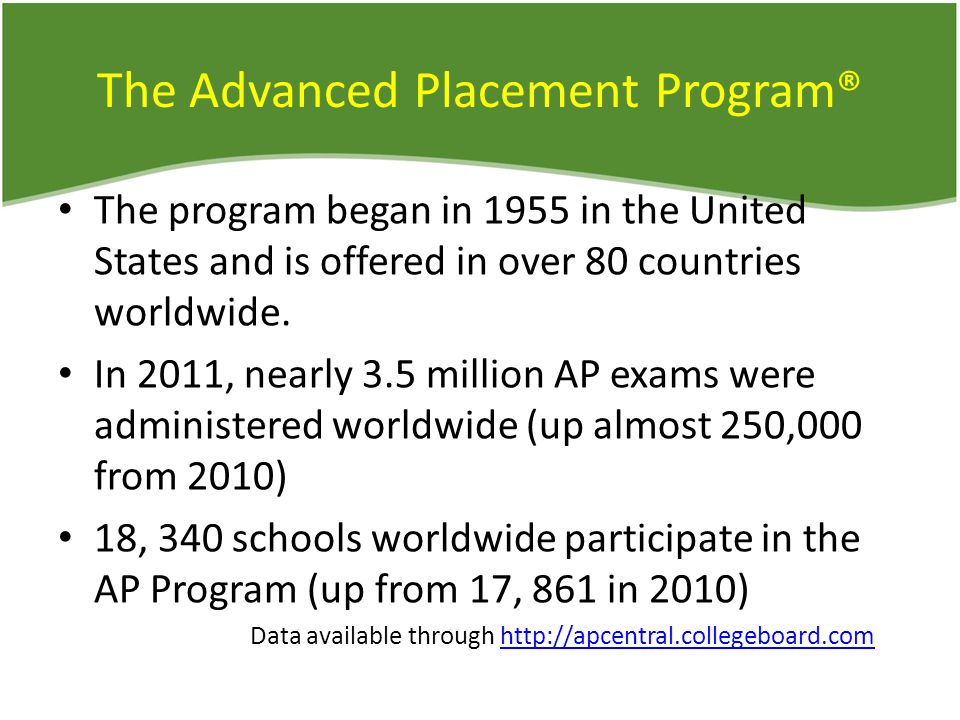 The Advanced Placement Program® The program began in 1955 in the United States and is offered in over 80 countries worldwide.