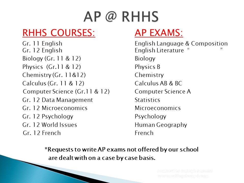 "RHHS COURSES:AP EXAMS: Gr. 11 EnglishEnglish Language & Composition Gr. 12 English English Literature "" "" Biology (Gr. 11 & 12)Biology Physics (Gr.11"