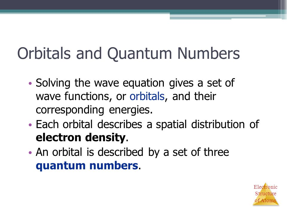 Electronic Structure of Atoms Orbitals and Quantum Numbers Solving the wave equation gives a set of wave functions, or orbitals, and their correspondi