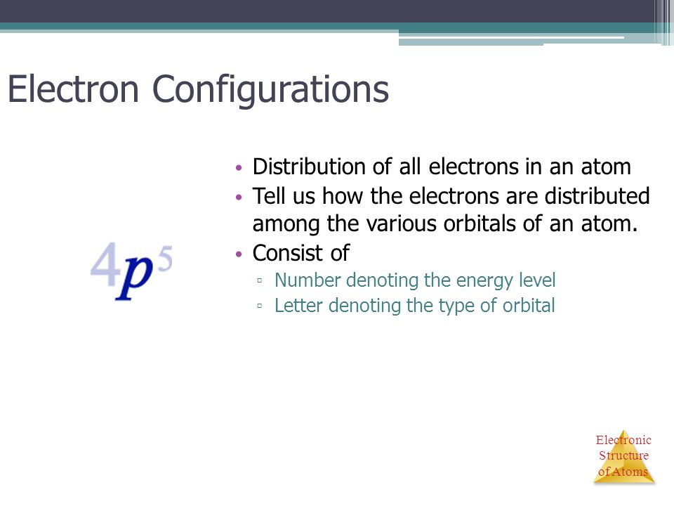 Electronic Structure of Atoms Electron Configurations Distribution of all electrons in an atom Tell us how the electrons are distributed among the var