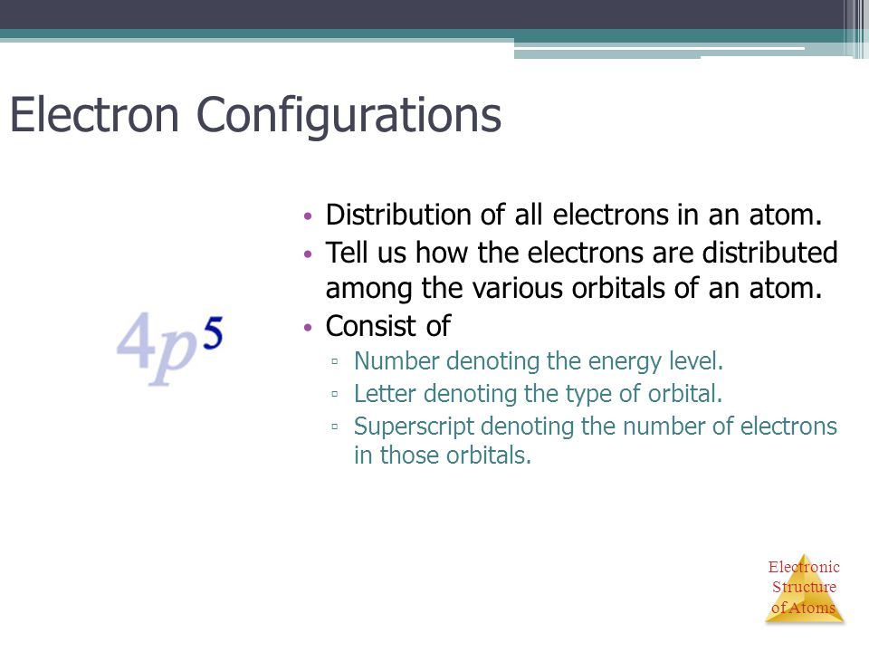 Electronic Structure of Atoms Electron Configurations Distribution of all electrons in an atom. Tell us how the electrons are distributed among the va