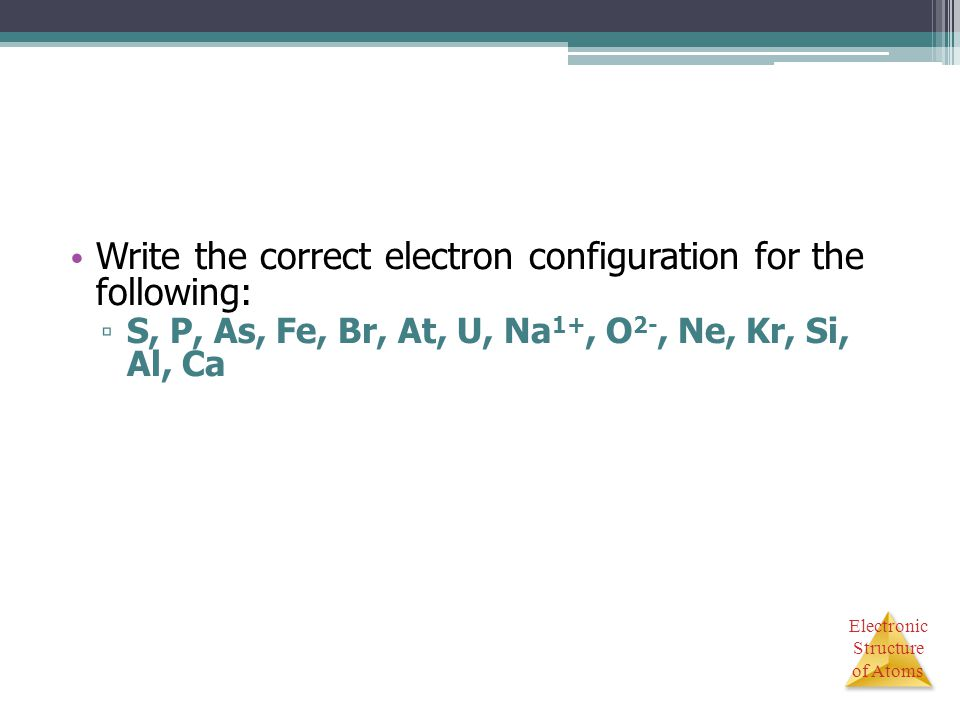 Electronic Structure of Atoms Write the correct electron configuration for the following: ▫ S, P, As, Fe, Br, At, U, Na 1+, O 2-, Ne, Kr, Si, Al, Ca