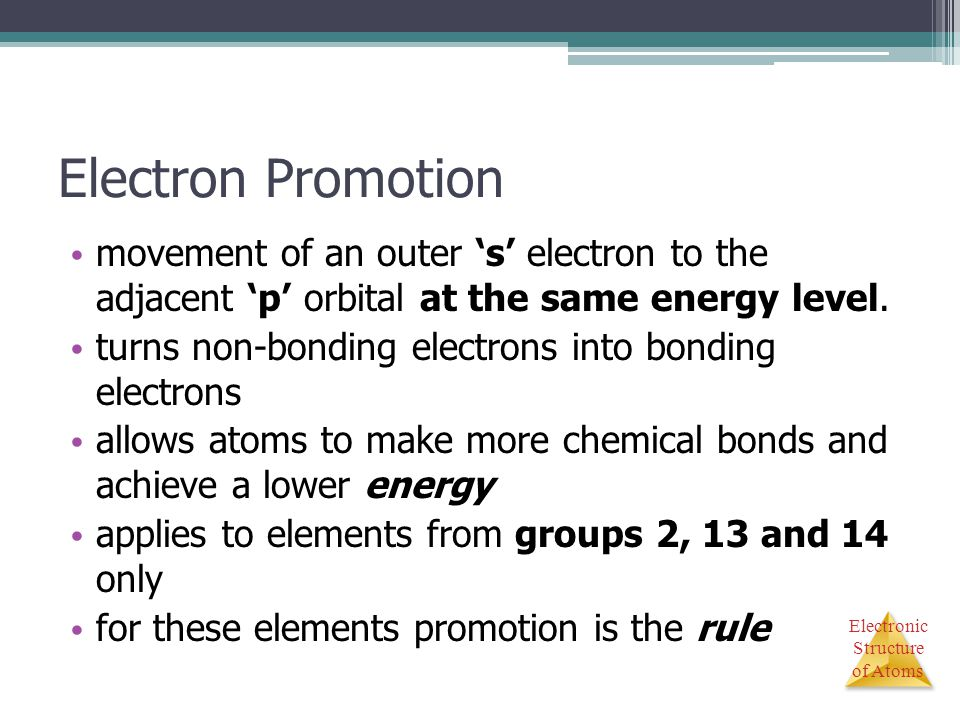 Electronic Structure of Atoms Electron Promotion movement of an outer 's' electron to the adjacent 'p' orbital at the same energy level. turns non-bon