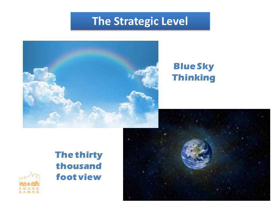 The Strategic Level The thirty thousand foot view Blue Sky Thinking