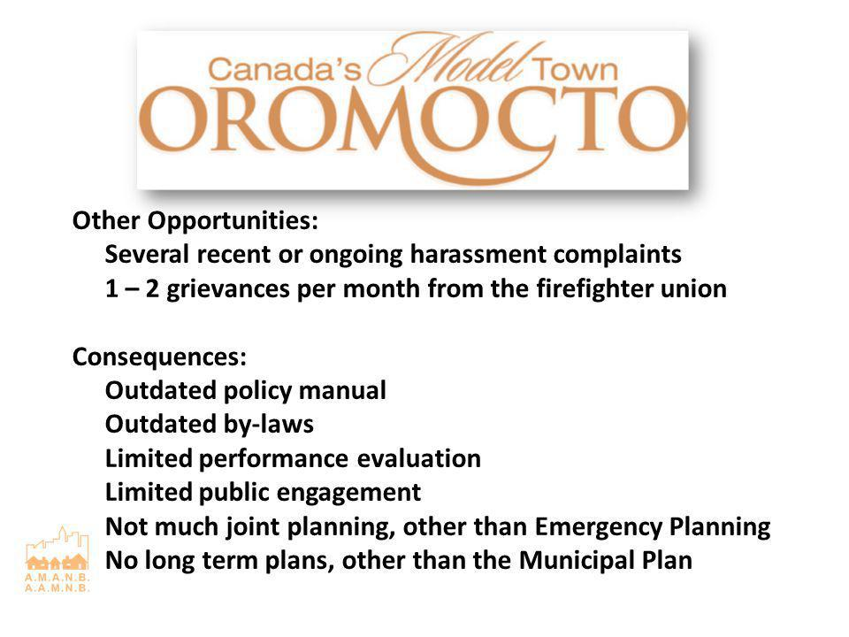 Other Opportunities: Several recent or ongoing harassment complaints 1 – 2 grievances per month from the firefighter union Consequences: Outdated policy manual Outdated by-laws Limited performance evaluation Limited public engagement Not much joint planning, other than Emergency Planning No long term plans, other than the Municipal Plan