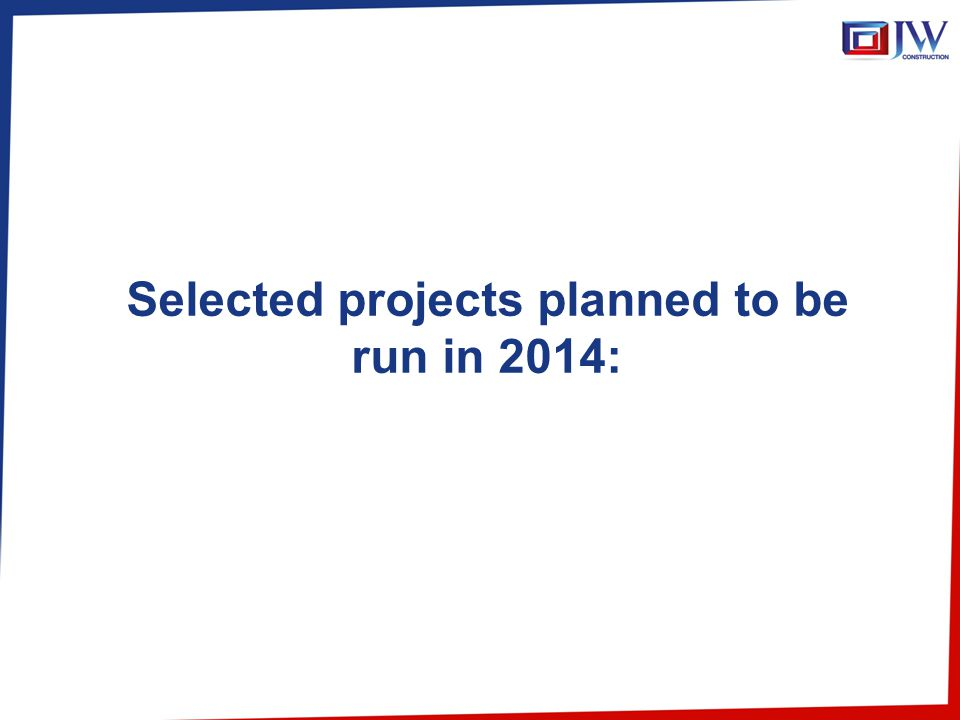 Selected projects planned to be run in 2014: