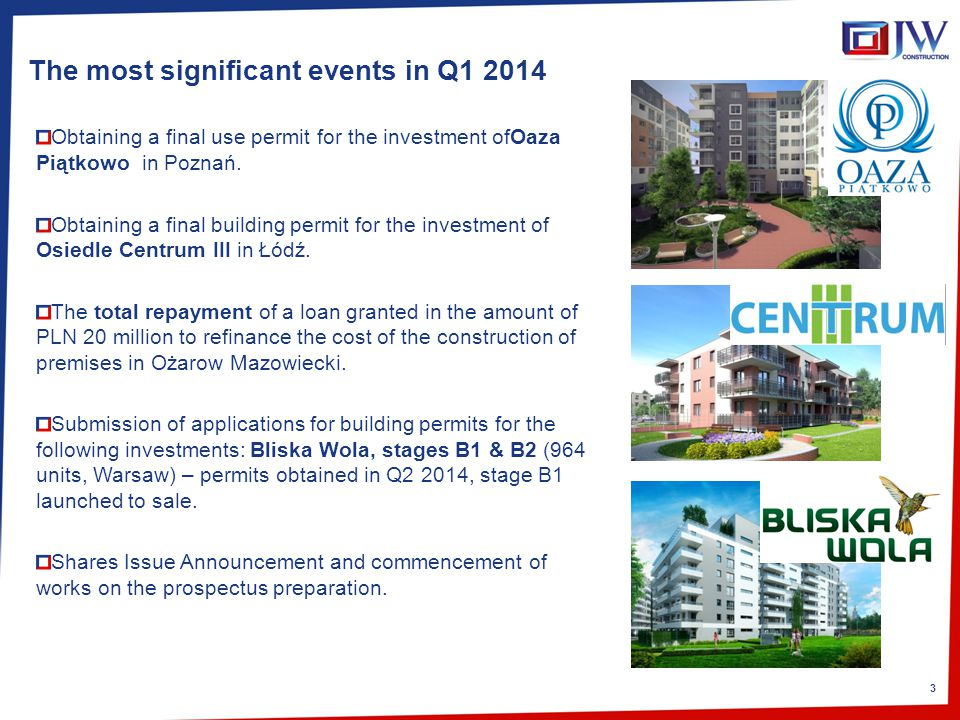 3 The most significant events in Q1 2014 Obtaining a final use permit for the investment ofOaza Piątkowo in Poznań.